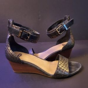 UGG Char Metallic Ankle Strap Wedges